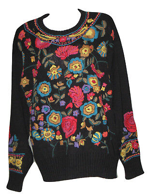 VTG ESSENCE Womens Floral Embroidered Ethnic Black Sweater Jumper HOT Size M
