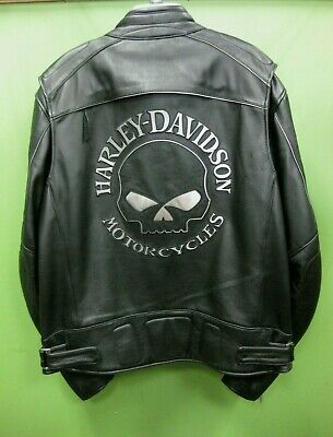 Harley Davidson Men's Reflective Willie G Skull Black Leather Jacket 98099-07VM