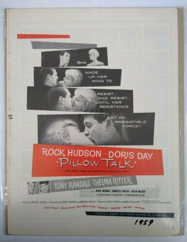 Pillow Talk Doris Day Rock Hudson Kissing 1950s Vtg Movie Promo Print Ad