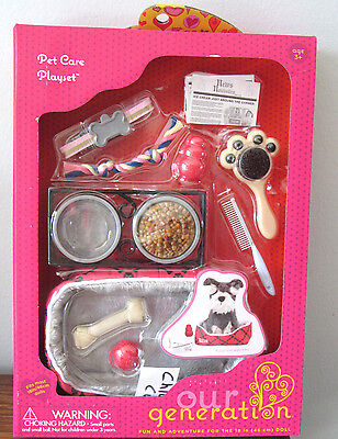 """American Our Generation PET CARE PLAYSET Dog Cat Food Bed Toys 18"""" Girl Doll NEW"""