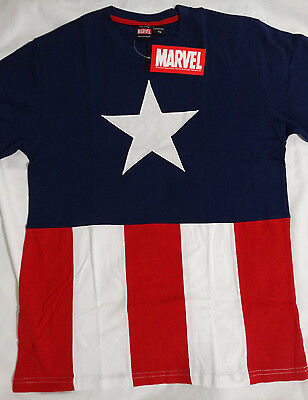 Captain America Cut and Sew Marvel Comics Costume T-Shirt Nwt