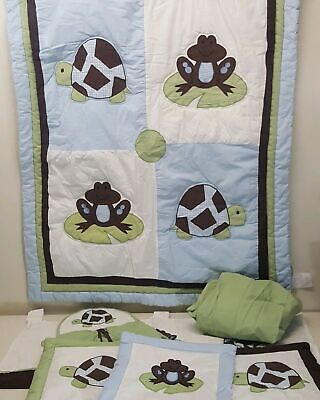 Pam Grace Bedding Set Frog Turtle 8 Pc Blanket Wall Hanging Sheet Diaper Stacker ()