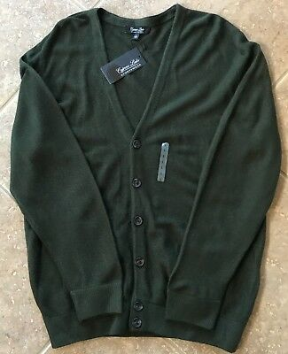 Cypress Links V Neck Cardigan Sweater Mens XL Leaf Green w/Pockets NWT Nice!