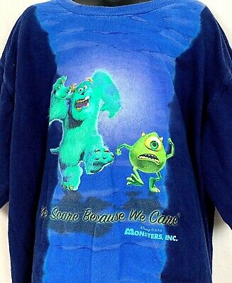 Disney Store Monsters Inc T Shirt Scare Because We Care Mike Sully Blue TieDye L