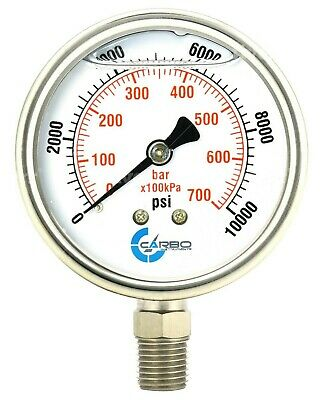 2-12 Pressure Gauge Stainless Steel Case Liquid Filled Lower Mnt 10000 Psi
