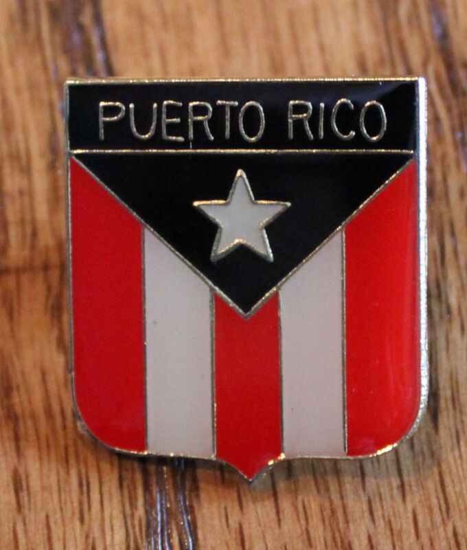 New Puerto Rican Rico Flag Shield Red Lapel Hat Pin Tie Tack Pinback