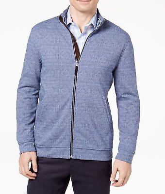 Tasso Elba Mens Knit Jacket Full Zip Jacquard Print Knit Jacket Blue XXL $79 - Jacquard Zip Jacket