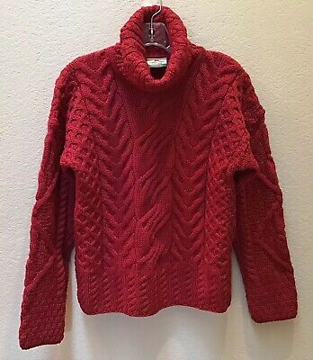 Carraig Donn Ireland 100% Merino Wool Turtleneck Sweater Red Size Medium NEW