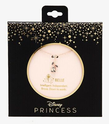Disney BEAUTY AND THE BEAST BELLE ROSE DAINTY CHARM NECKLACE Rose Gold (Beauty And The Beast Rose Necklace Gold)