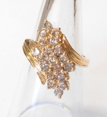 Vintage Tiered Gorgeous Champagne Diamond Cluster 14K Yellow Gold Ring Size 7