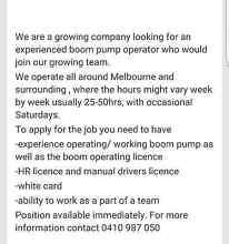 Boom Pump Operator Sunshine Brimbank Area Preview