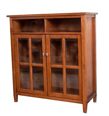 Simpli Home Warm Shaker Honey Brown Medium Storage Media Cabinet & Buffet