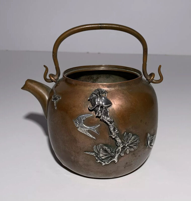 Antique GORHAM MIXED METALS TEAPOT INSECTS BIRDS SIGNED COPPER STERLING SILVER