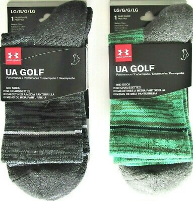 Under Armour Mens' Golf Mid Crew Socks Black Green Marled LG (9-12 1/2) 1 PR NWT