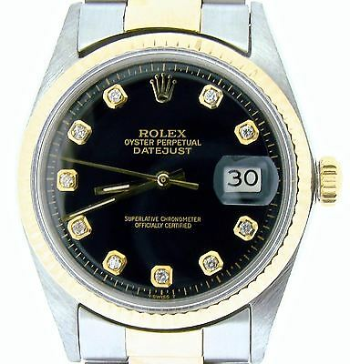 Rolex Datejust Mens 2Tone 14k Gold & Stainless Steel w/ Black Diamond Dial 1601