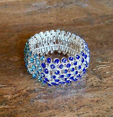 Big  Bold   Beautiful Blue Crystal Stretch Bracelet Spectacular