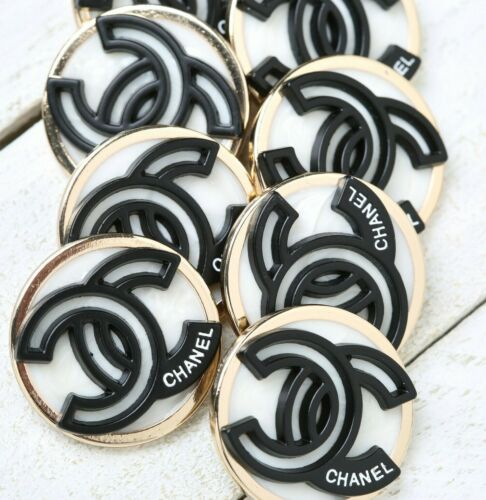 Chanel Buttons 6p CC Ivory Black 🖤 Silver White 23mm Unstamped 6 Buttons AUTH!