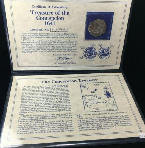 TREASURE OF CONCEPCION WRECK OF 1641 SILVER COIN SPANISH 8 REALE COB TYPE W/ COA