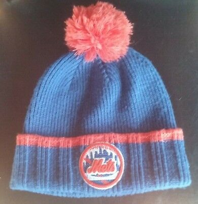 MLB New Era NY New York Mets Team Cuffed Pom Beanie winter Cap Knit Hat Toboggan - Mets Winter Hat
