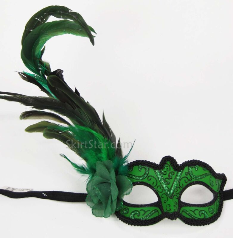 VENETIAN MASK Burlesque Poison Ivy Costume Masquerade Feathers Green Fairy Fancy