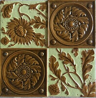 YELLOW & BROWN EMBOSSED VICTORIAN TILE - CAMPBELL TILE CO - 6