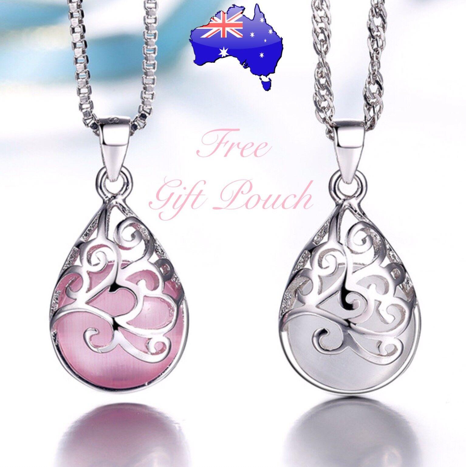 Jewellery - 925 Sterling Silver Opal Moonstone Teardrop Water Drop Pendant Necklace Gift New