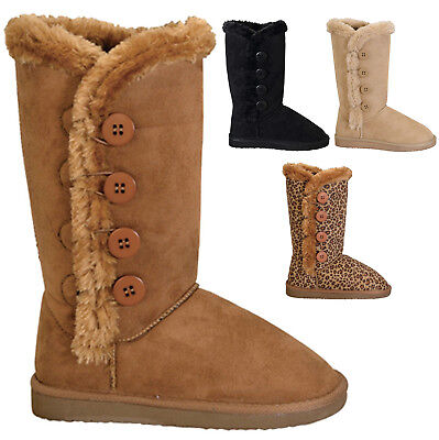 - NEW Women's Classic Round Toe Boots w/ Side Buttons Faux Fur Trim Size 5 to 10