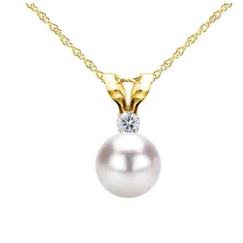 White Saltwater Cultured Japanese Akoya Pearl Diamond Pendan