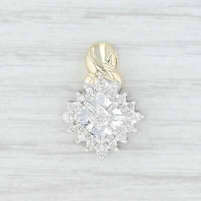 .21ctw Diamond Cluster Pendant - 10k Yellow & White Gold - 10k White Gold Pearl Diamond Pendant