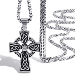 Mens celtic cross necklace ebay mens womens celtic cross cz stainless steel pendant with box chain necklace set mozeypictures Choice Image