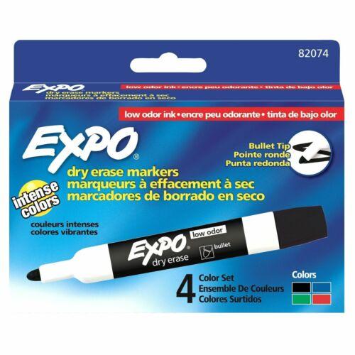 EXPO 82074 Dry Erase Marker Set, Bullet Tip, Assorted Colors PK4 Low Odor
