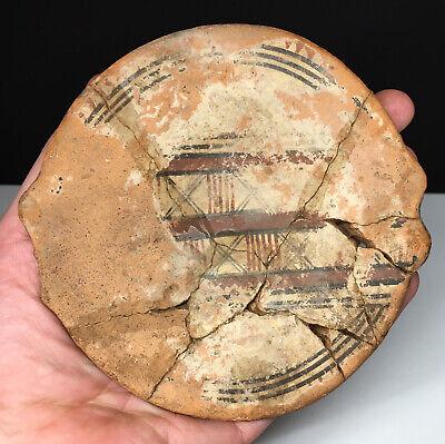 Pre-Columbian Inca Terracotta Pottery Polychrome Handled Dish CAPACOCHA
