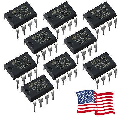 10pcs Ua741cn Op Amp Ua741 Lm741 Ic St Dip-8 Operational Amplifier - Usa Shipped