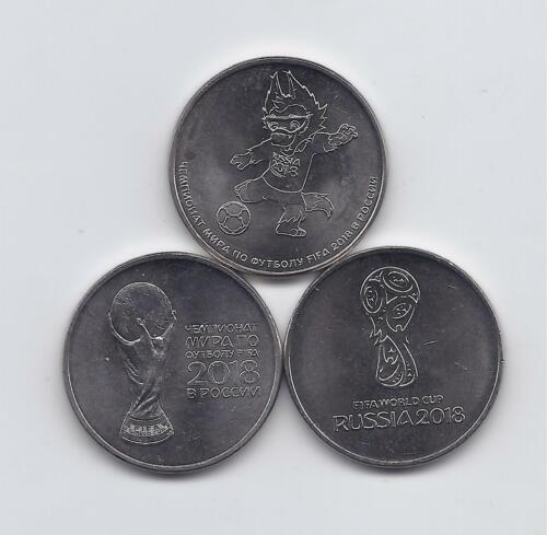 RUSSIA 3 X 25 ROUBLES 2018 COINS SET UNC FIFA World Championship - Football