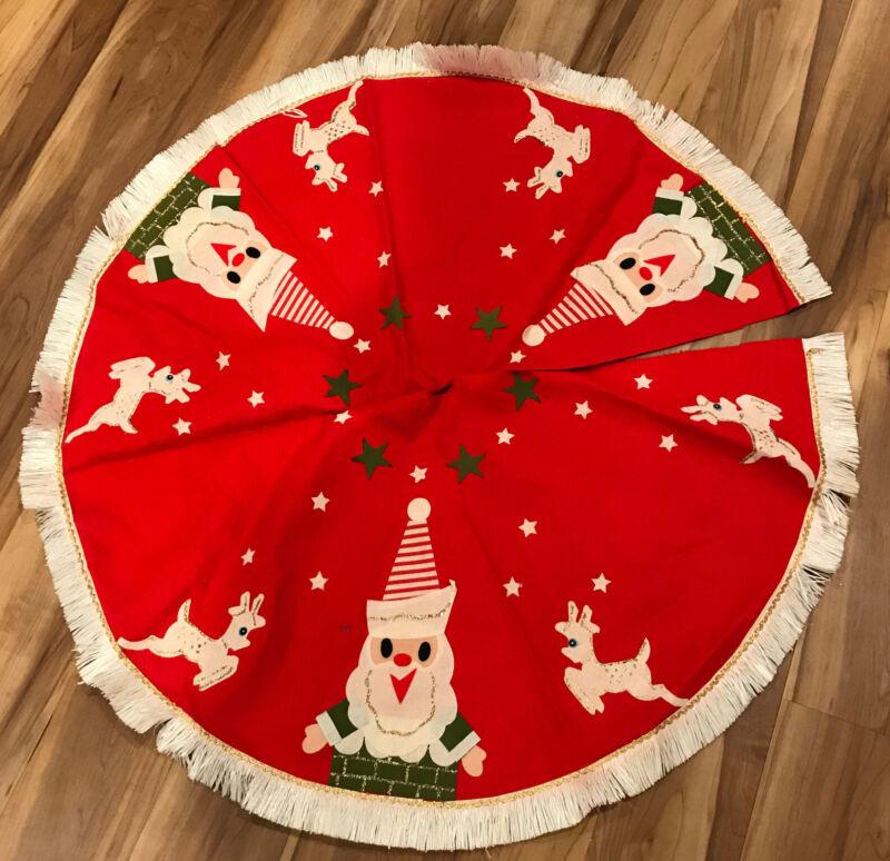 Vintage Handmade Felt Tree Skirt Embellished Fringe Santa Reindeer Christmas