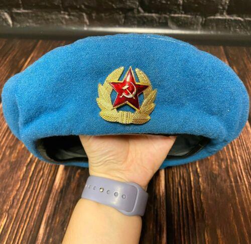 Soviet Russian VDV Beret Cap Military Hat Size 54 Vintage 1981s USSR Uniform