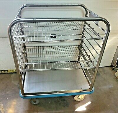 Colson Medical Cart Stainless Steel Movable Shelves Good Solid Condition