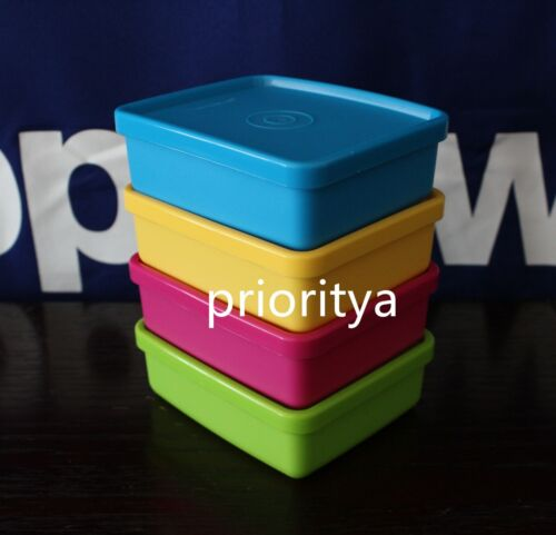 Tupperware MINI Square Away 5oz / 140ml Container Snack Cup Set of 4 New