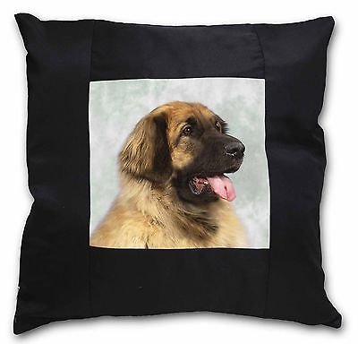 Blonde Leonberger Dog Black Border Satin Feel Cushion Cover With Pil, AD-LE1-CSB