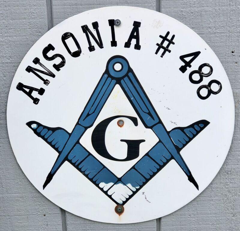"VINTAGE ORIGINAL ANSONIA OHIO MASONIC LODGE CITY LIMIT 18"" SIGN FREEMASON MASONS"