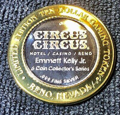 "Circus Circus Casino Reno Nevada $10  .999 Silver Strike ""Emmet Kelly Jr Tiger"""