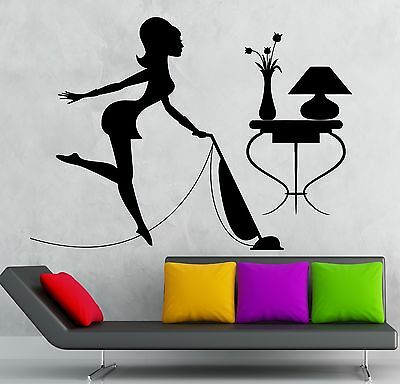 Wall Stickers Housewife Cleaning Cleaner Woman Maid Vacuums