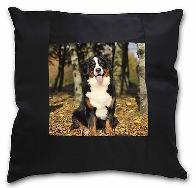 Bernese Mountain Dog Black Border Satin Scatter Cushion Christmas G, AD-BER7-CSB