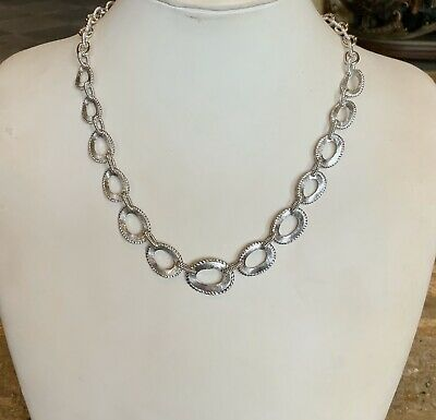 """""""JUDITH RIPKA"""" STERLING SILVER 20"""" TEXTURED WAVY OVAL LINK NECKLACE GORGEOUS"""