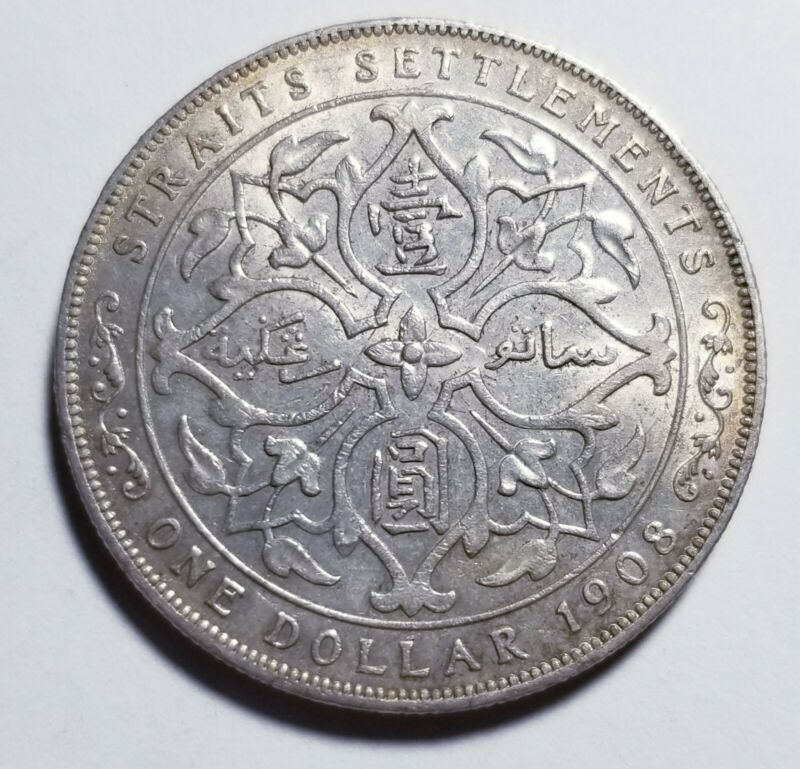 1908 Malaysia Straits Settlements 1 Dollar AU Priced Right Shipped FREE C184