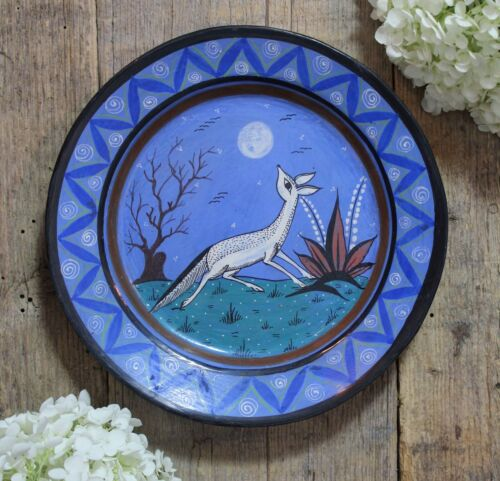 Coyote Plate Handmade Painted Burnished Clay by Medrano Tonala Mexican Folk Art