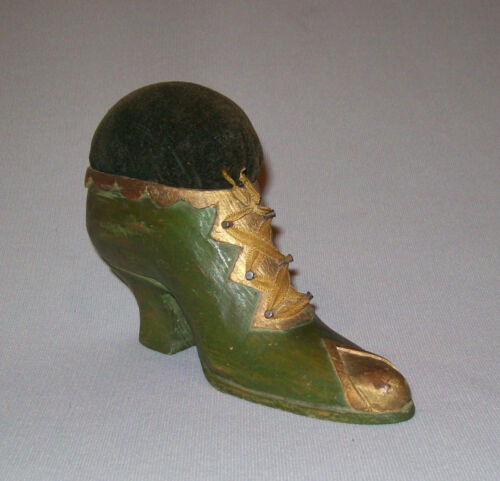 Old Antique Vtg Late 19th C 1800s Hand Carved Folk Art Shoe Pin Cushion Nice