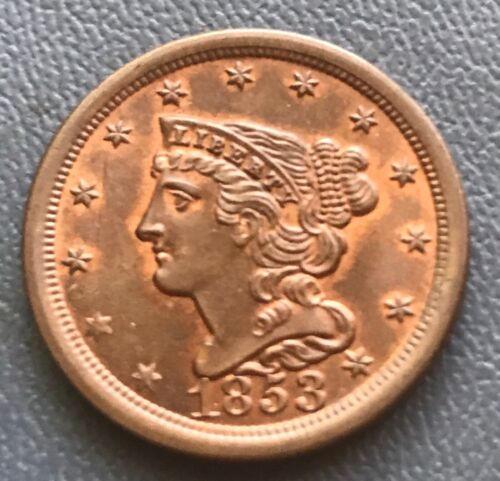 1853 braided hair half cent. , choice mint state