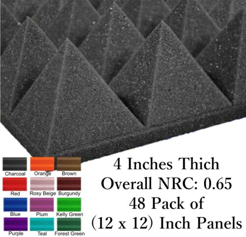 48 Pack (12 x 12 x 4) Inch Pyramid Acoustical Foam Panel for Wall Soundproofing