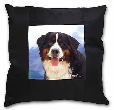 Bernese 'Love You Dad' Black Border Satin Feel Cushion Cover With Pil, DAD-8-CSB